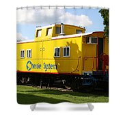 Yellow Caboose Shower Curtain