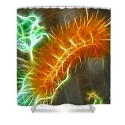 Yellow Caterpillar Fractal Shower Curtain