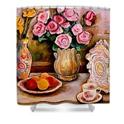Yellow Daffodils Red Roses  Peaches And Oranges With Tea Cup  Shower Curtain