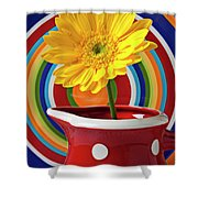 Yellow Daisy In Red Pitcher Shower Curtain
