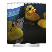 Yellow Rubber Duckies  Shower Curtain
