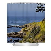 Yellow Flowers On The Central California Coast Shower Curtain