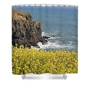 Yellow Flowers On The Northern California Coast Shower Curtain