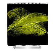 Yellow Ghost On Black Shower Curtain
