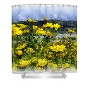 Yellow Landscape Shower Curtain