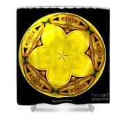 Yellow Lily Kaleidoscope Under Glass Shower Curtain