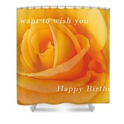 Yellow Rose Birthday Card Shower Curtain