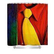 Yellow Silk Tie Shower Curtain