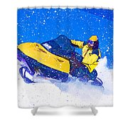 Yellow Snowmobile In Blizzard Shower Curtain