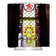 Yellow Stained Glass Window Shower Curtain