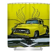 Yellow Truck In Truck Grill Shower Curtain