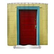 Yellow Wall And Red Door Shower Curtain