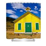 Yellow Western School House Shower Curtain
