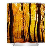 Yellow Wood Shower Curtain