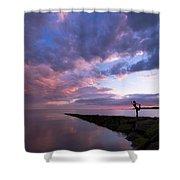 Yoga Dancer Asana On Beach Jetty Shower Curtain