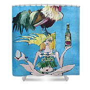Yoga Girl With Cock - Bottle Of Wine And Egg Shower Curtain