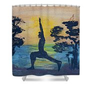 Yoga High Lunge Pose  Shower Curtain