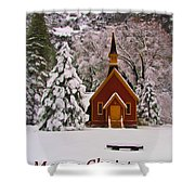 Yosemite Chapel - Christmas Card Shower Curtain