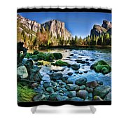 Yosemite Rocks In River Shower Curtain