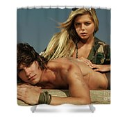 Young Beautiful Couple At The Beach Shower Curtain