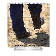 Young Cowboy With Spurs Shower Curtain