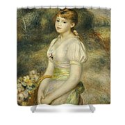 Young Girl With A Basket Of Flowers Shower Curtain
