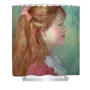 Young Girl With Long Hair In Profile Shower Curtain