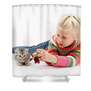 Young Girl With Silver Tabby Kitten Shower Curtain