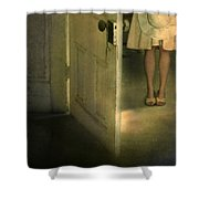 Young Lady By Open Door Shower Curtain