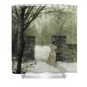 Young Lady By Stone Pillar In Snow Shower Curtain
