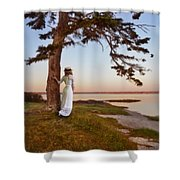Young Lady In Edwardian Clothing By The Sea Shower Curtain