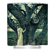 Young Lady In White By Tree Shower Curtain