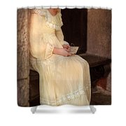 Young Lady In Yellow Gown With Letters Shower Curtain
