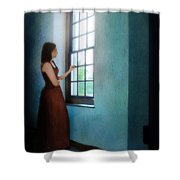 Young Lady Looking Out Window Shower Curtain