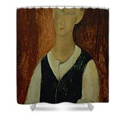 Young Man With A Black Waistcoat Shower Curtain
