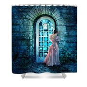 Young Woman Alone In Pink Gown  Shower Curtain