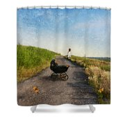 Young Woman And Baby Buggy On Dirt Road  Shower Curtain