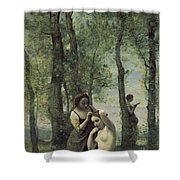 Young Woman At Her Toilet Shower Curtain