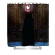Young Woman In Black Lantern In Front Of Her Face Shower Curtain