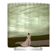 Young Woman In Long Gown By Pond Shower Curtain