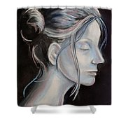 Young Woman In Profile-quick Self Study Shower Curtain