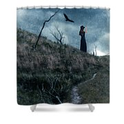 Young Woman On Creepy Path With Black Birds Overhead Shower Curtain