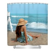 Young Woman Sitting On A Beach Shower Curtain