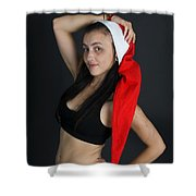 Young Woman Wearing Santa Hat Shower Curtain