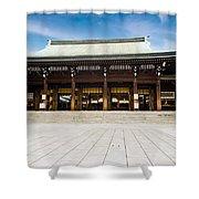 Zen Temple Under Blue Sky  Shower Curtain
