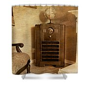 Zenith Consol Radio 1940's  Shower Curtain by Paul Ward