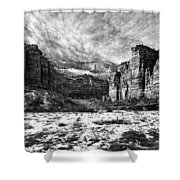 Zion Canyon - Bw Shower Curtain