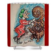 A Elf And Her Dog Shower Curtain