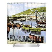 1900 Harbour View Mousehole Cornwall England Shower Curtain