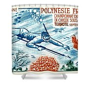 1965 French Polynesia Spearfishing Postage Stamp Shower Curtain